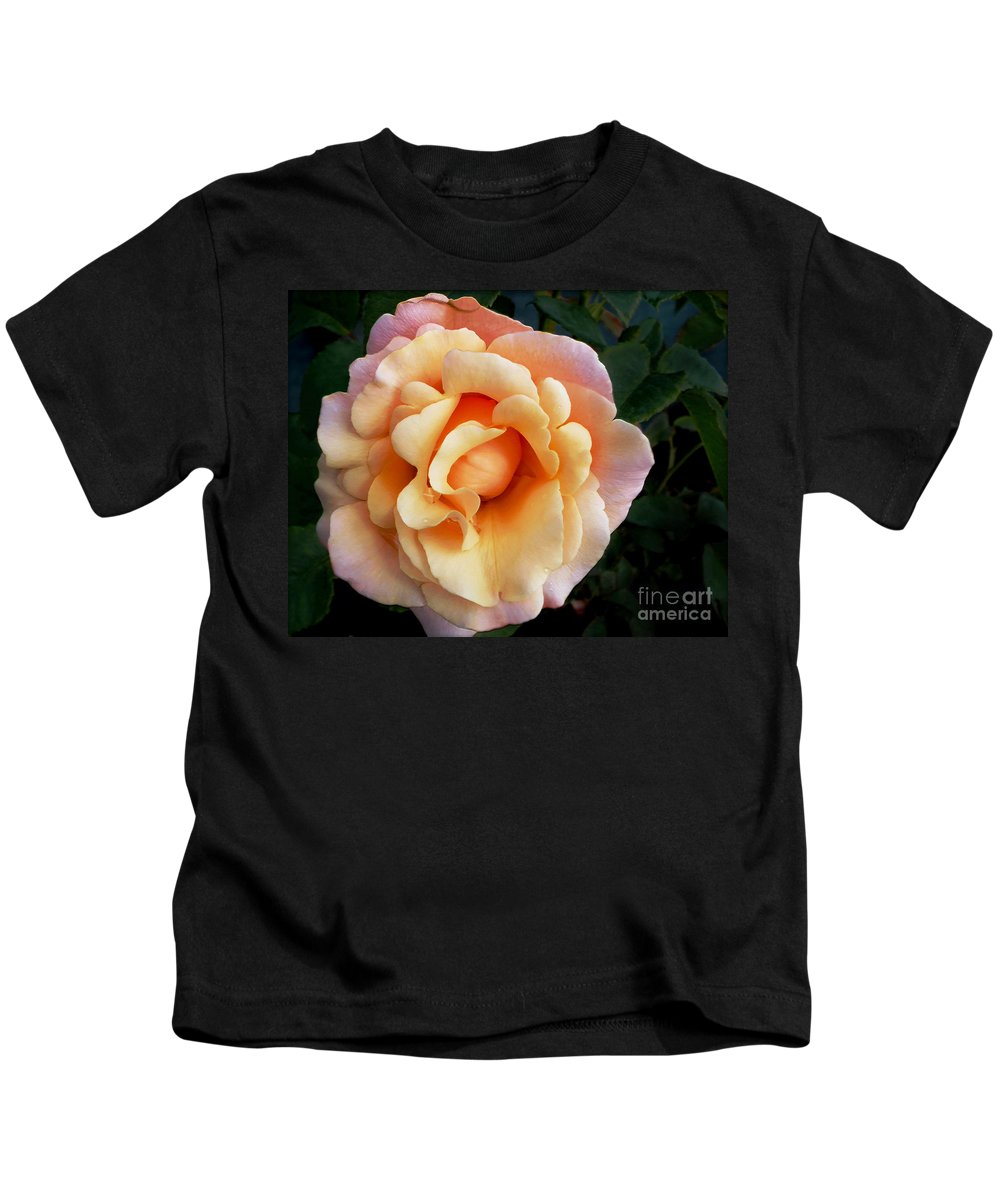 Photography Kids T-Shirt featuring the photograph Rose Of Many Pastels by Kaye Menner