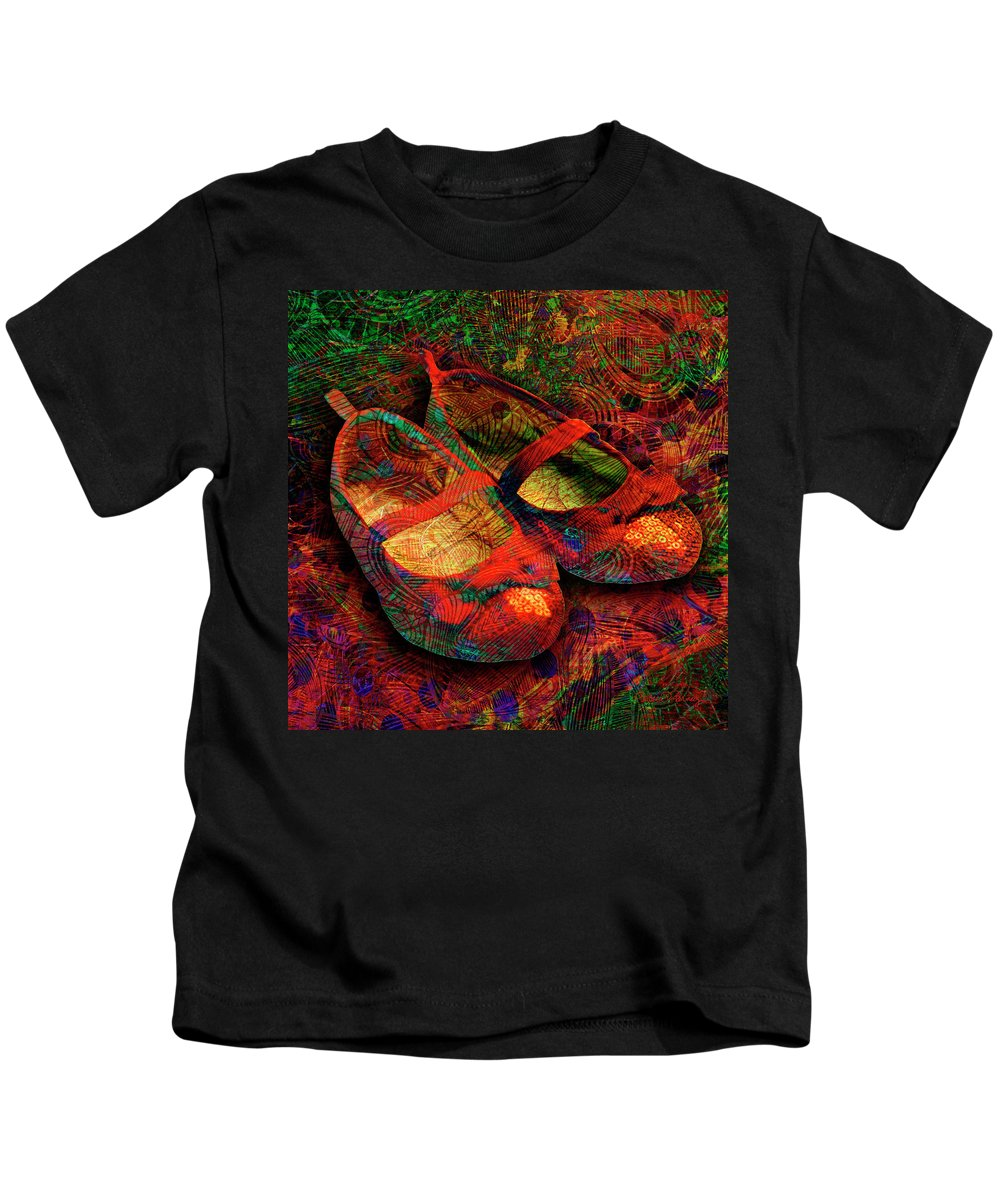 Shoes Kids T-Shirt featuring the digital art Ruby Slippers by Barbara Berney