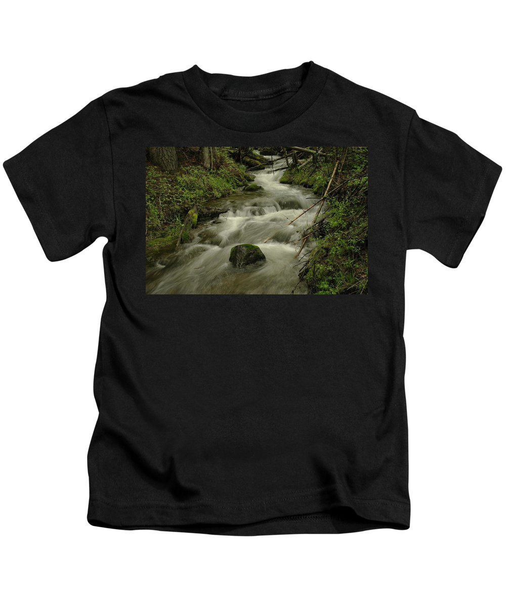 Water Kids T-Shirt featuring the photograph Running Over The Rocks  by Jeff Swan