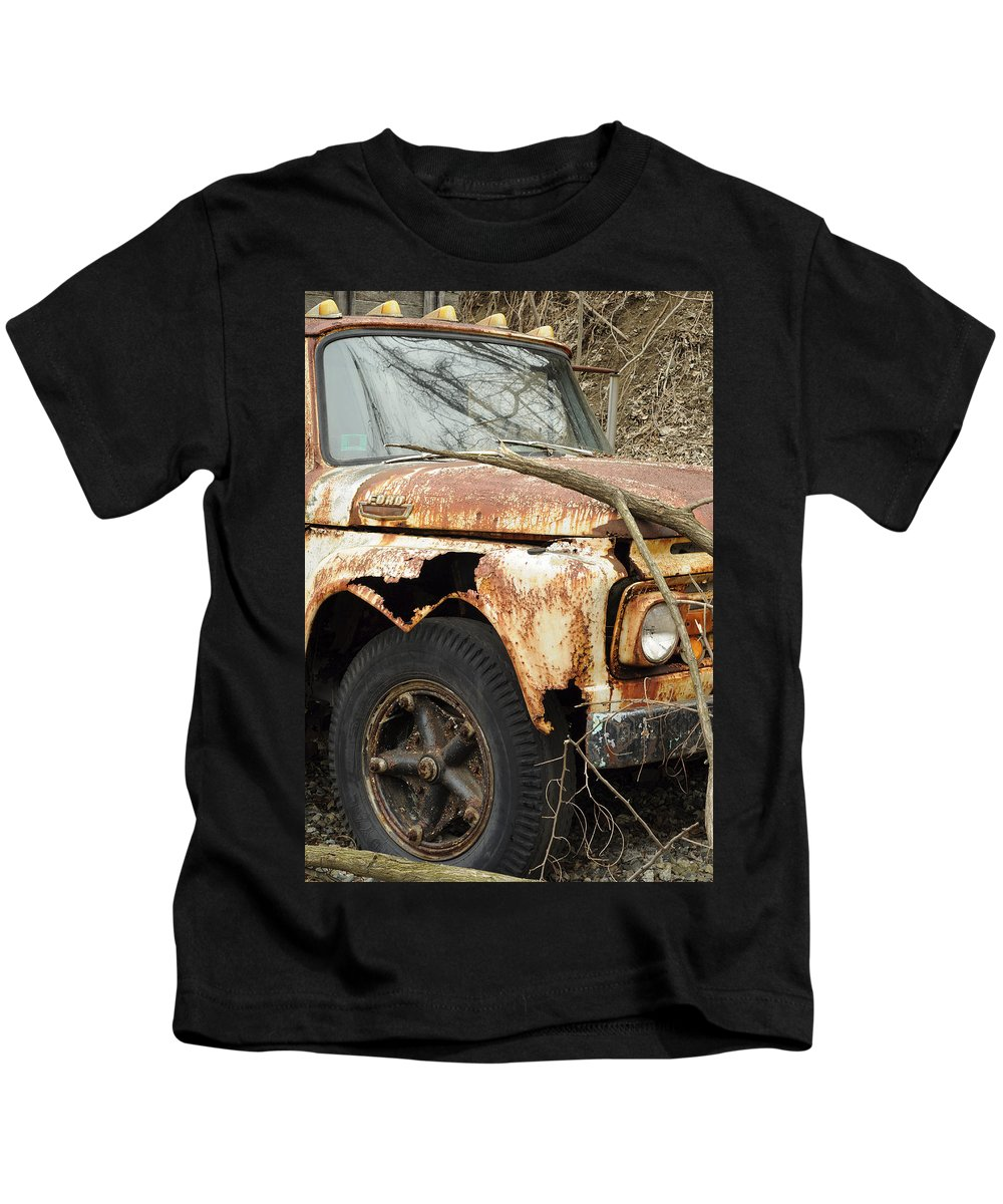 Ford Kids T-Shirt featuring the photograph Rusty Ford by Luke Moore