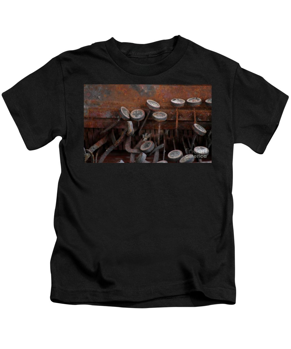 New Mexico Kids T-Shirt featuring the photograph Rusty Typewriter by Ashley M Conger