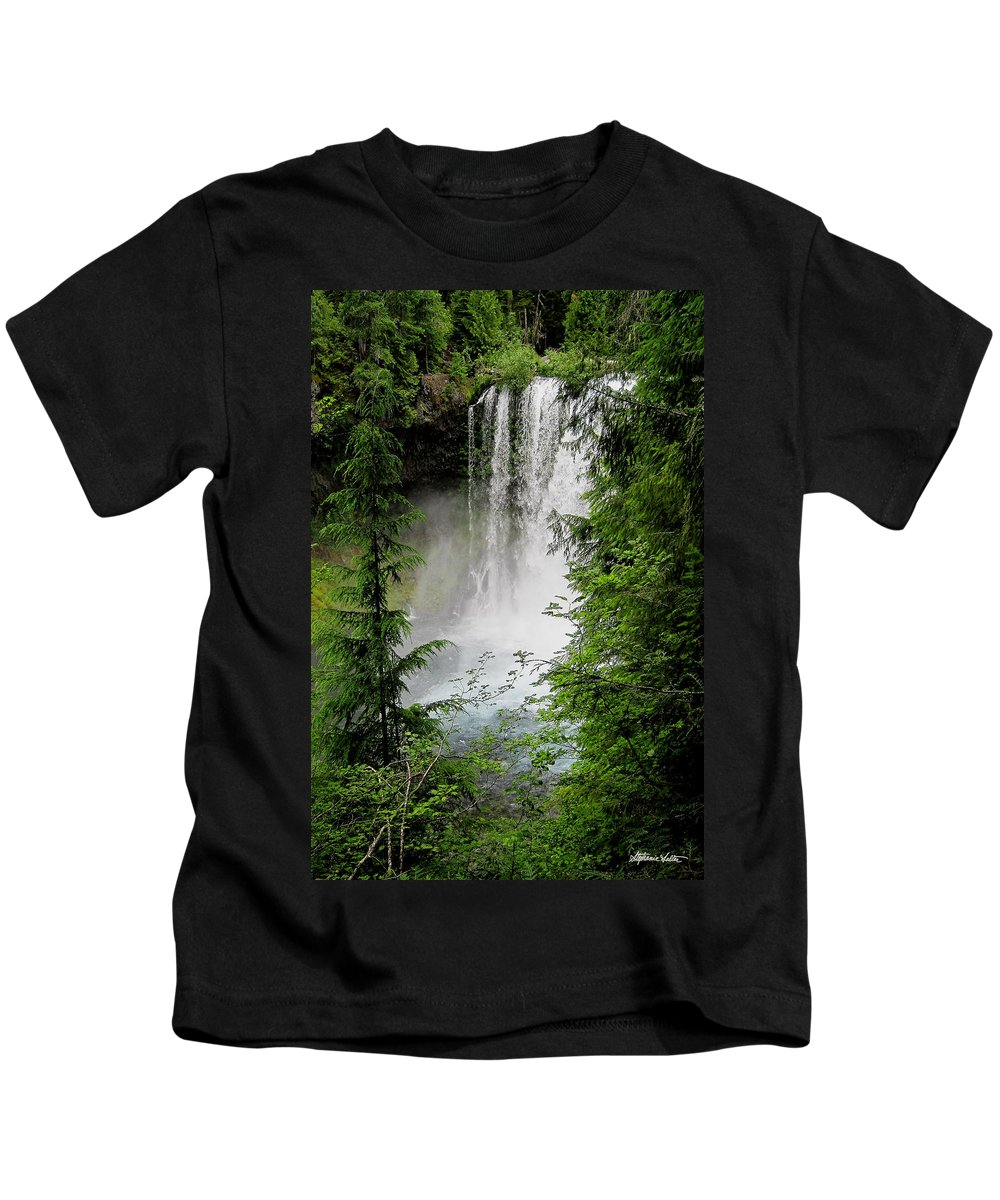 Landscape Kids T-Shirt featuring the photograph Sahalie Falls by Stephanie Salter