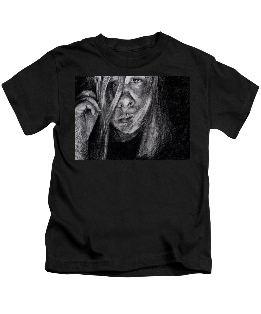 Self Portrait Kids T-Shirt featuring the drawing Self Portrait 2011 by Molly Picklesimer