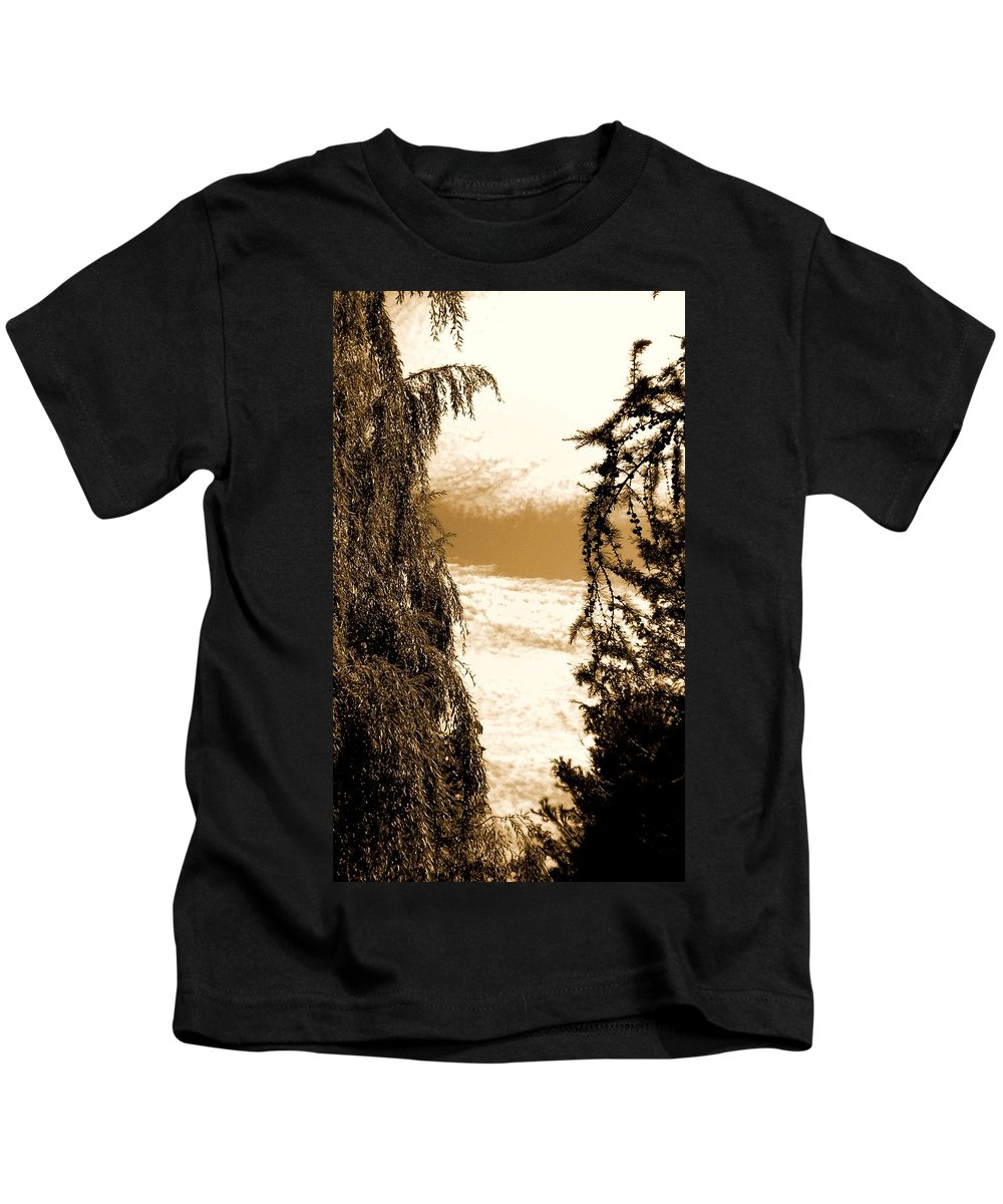 Sepia Kids T-Shirt featuring the painting Sepia Sky 2 by Renate Nadi Wesley