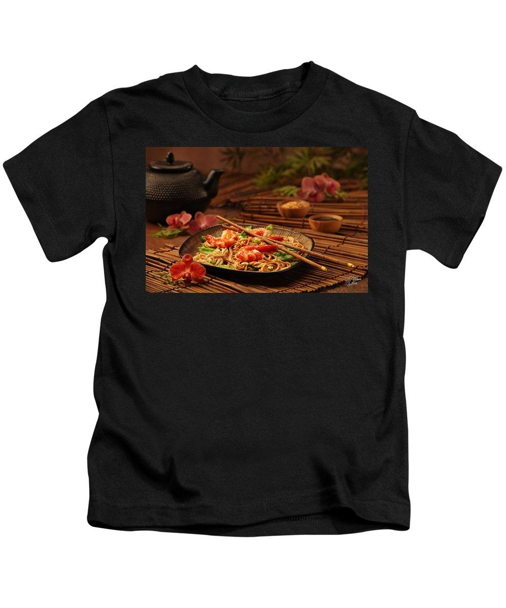 Prawns Kids T-Shirt featuring the photograph Serene Cuisine by Tamara Brown