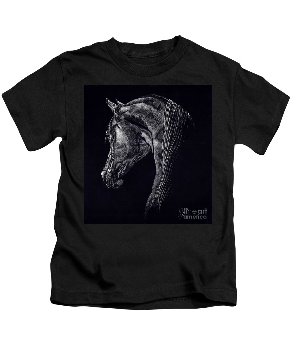 Horse Kids T-Shirt featuring the drawing Shadow by Yenni Harrison