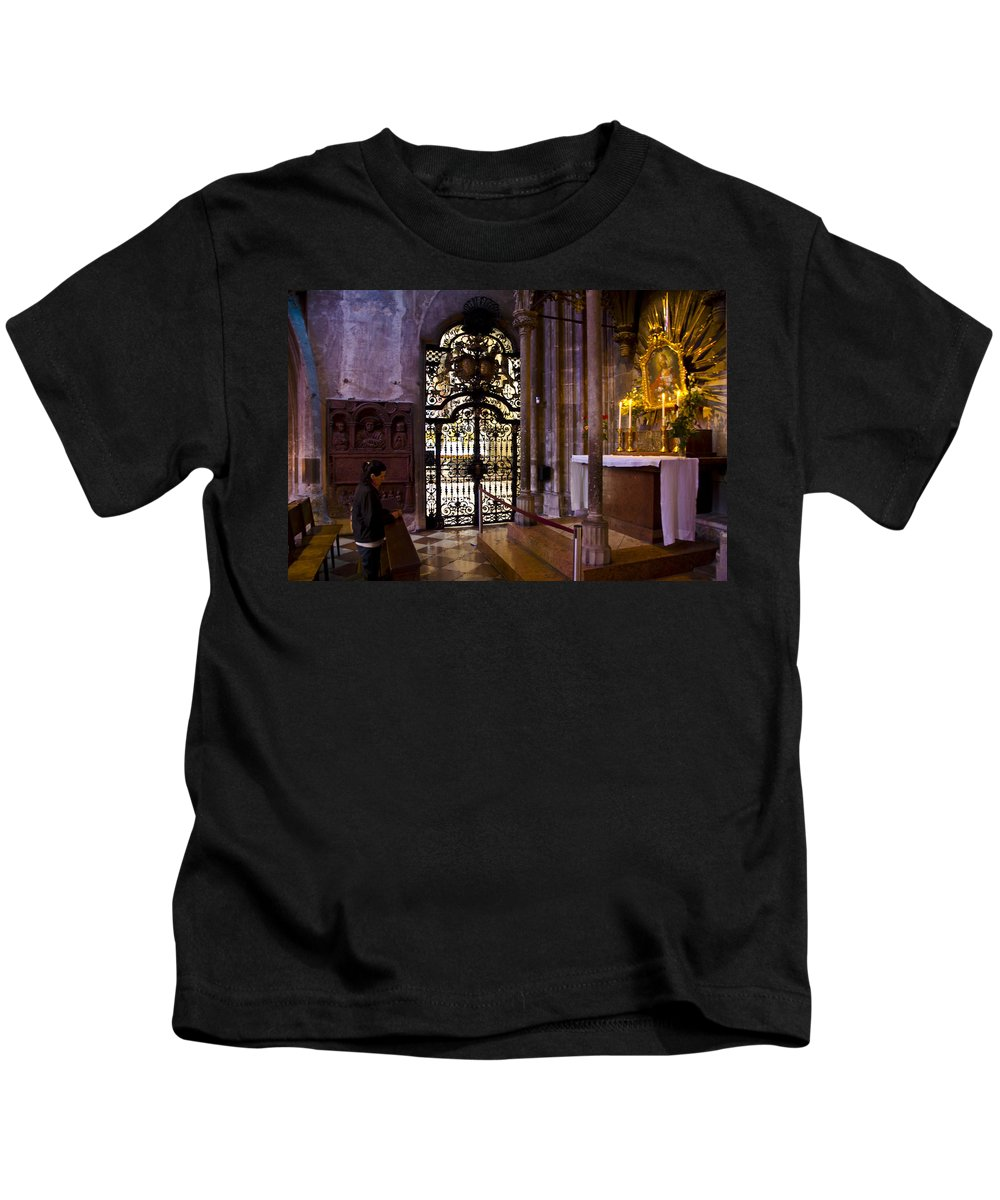 St Stephens Cathedral Vienna Kids T-Shirt featuring the photograph Side Chapel St Stephens - Vienna by Jon Berghoff