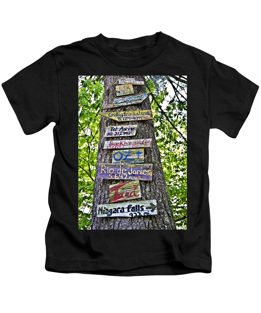 Signs Kids T-Shirt featuring the photograph Signs On A Tree by Susan Leggett