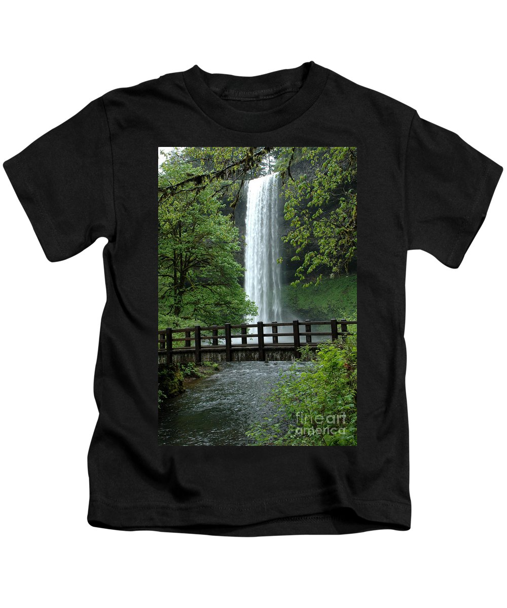 Silver Falls Kids T-Shirt featuring the photograph Silver Falls 2 In Oregon by Mike Nellums
