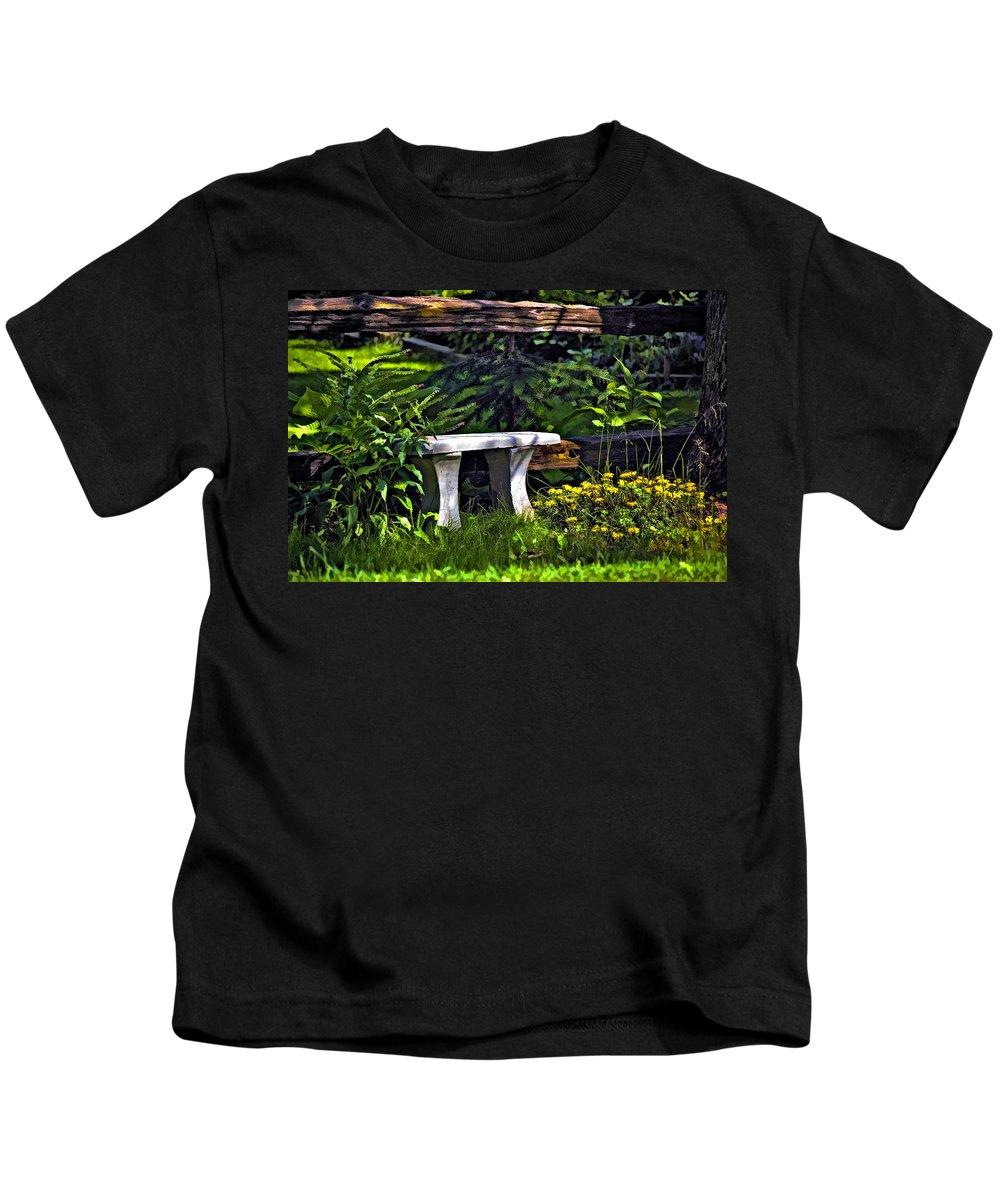 Landscape Kids T-Shirt featuring the photograph Sit A Spell by Steve Harrington