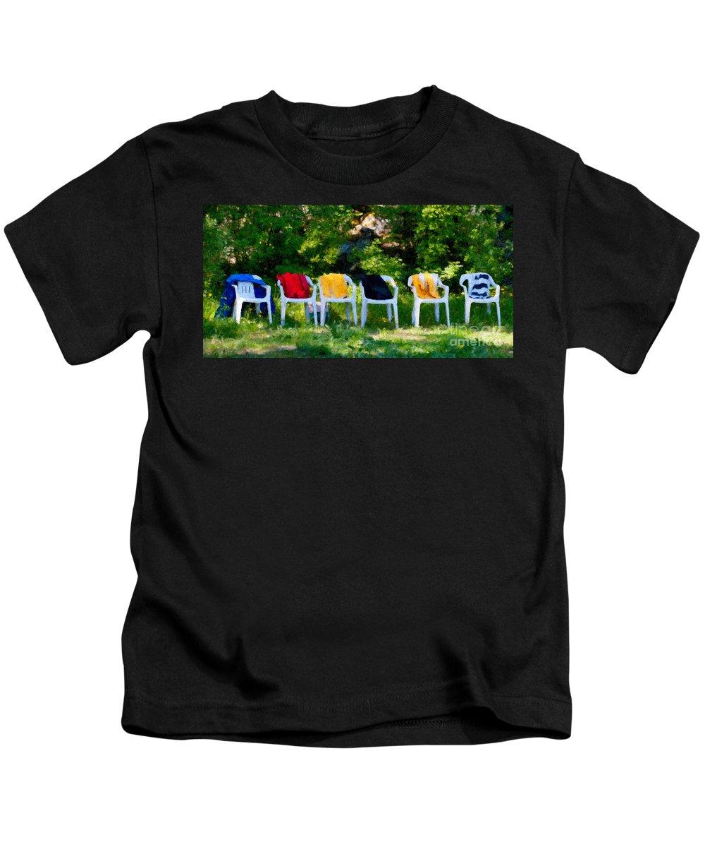 Chair Kids T-Shirt featuring the digital art Six Summer Chairs by Ari Salmela