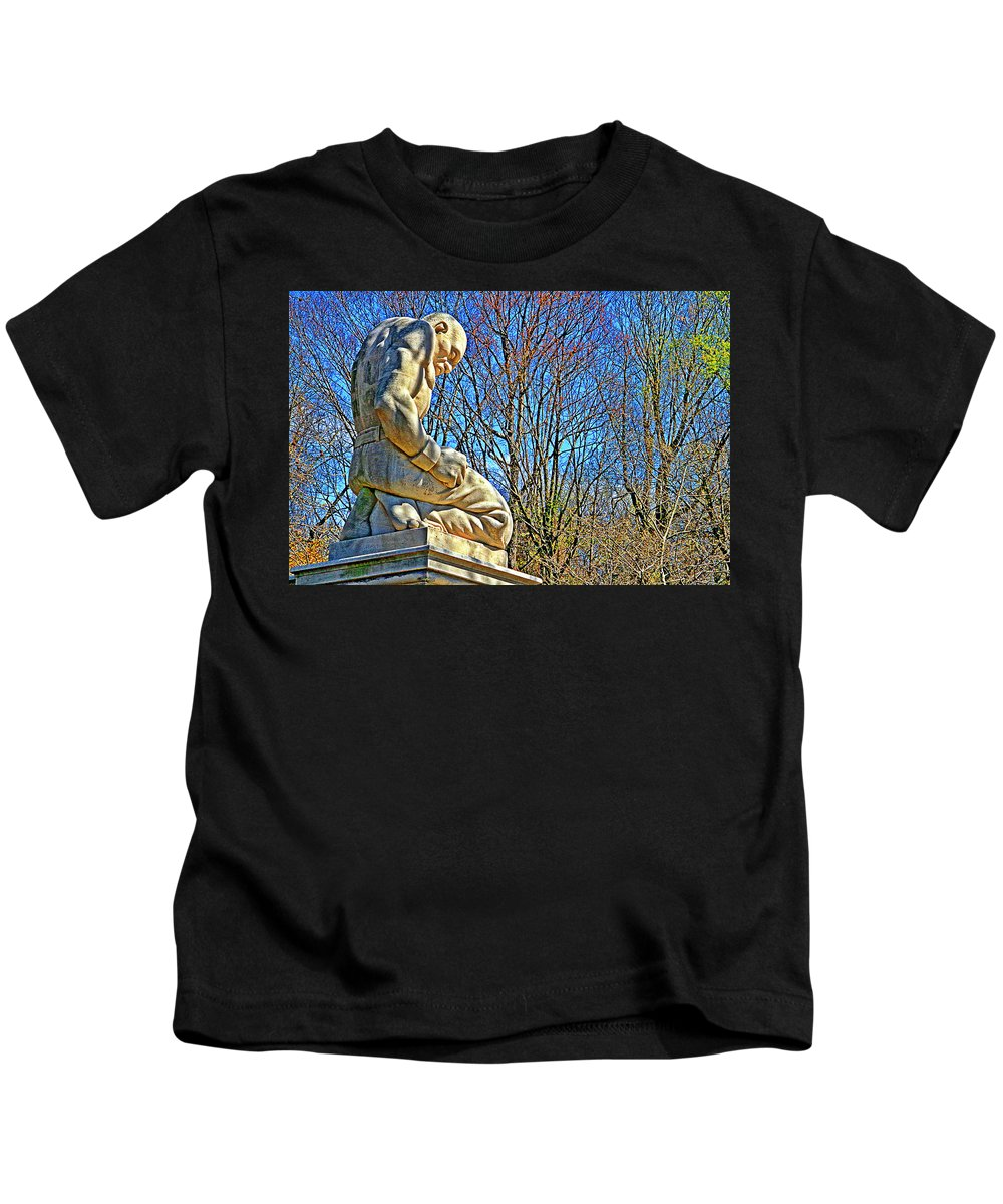 Slave Statue Philadelphia Shackles Kids T-Shirt featuring the photograph Slave by Alice Gipson