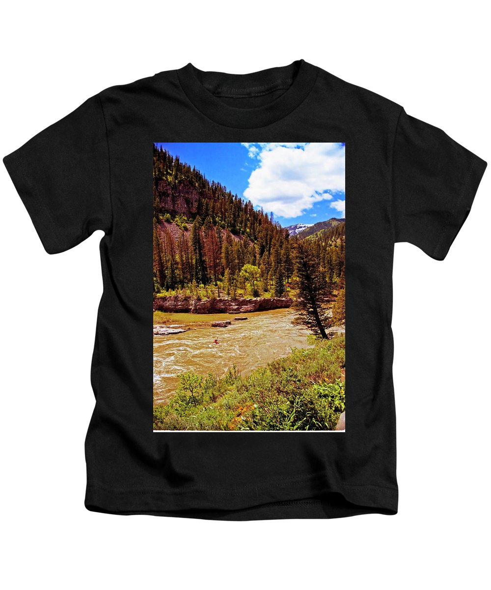 Wyoming Kids T-Shirt featuring the photograph Snake River And Kayaker by Rich Walter