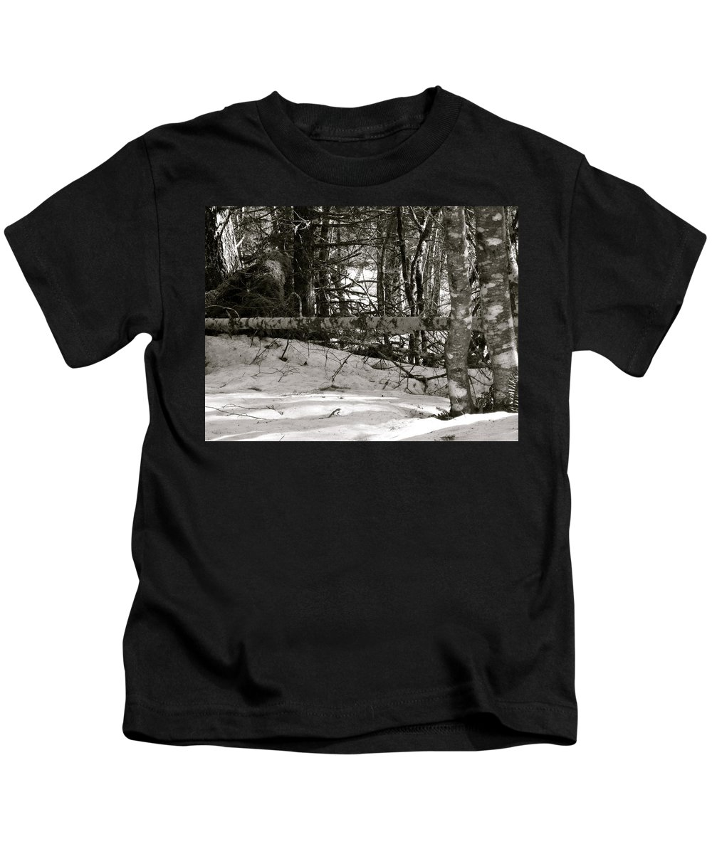 Snow Kids T-Shirt featuring the photograph Snow And Trees by Linda Hutchins