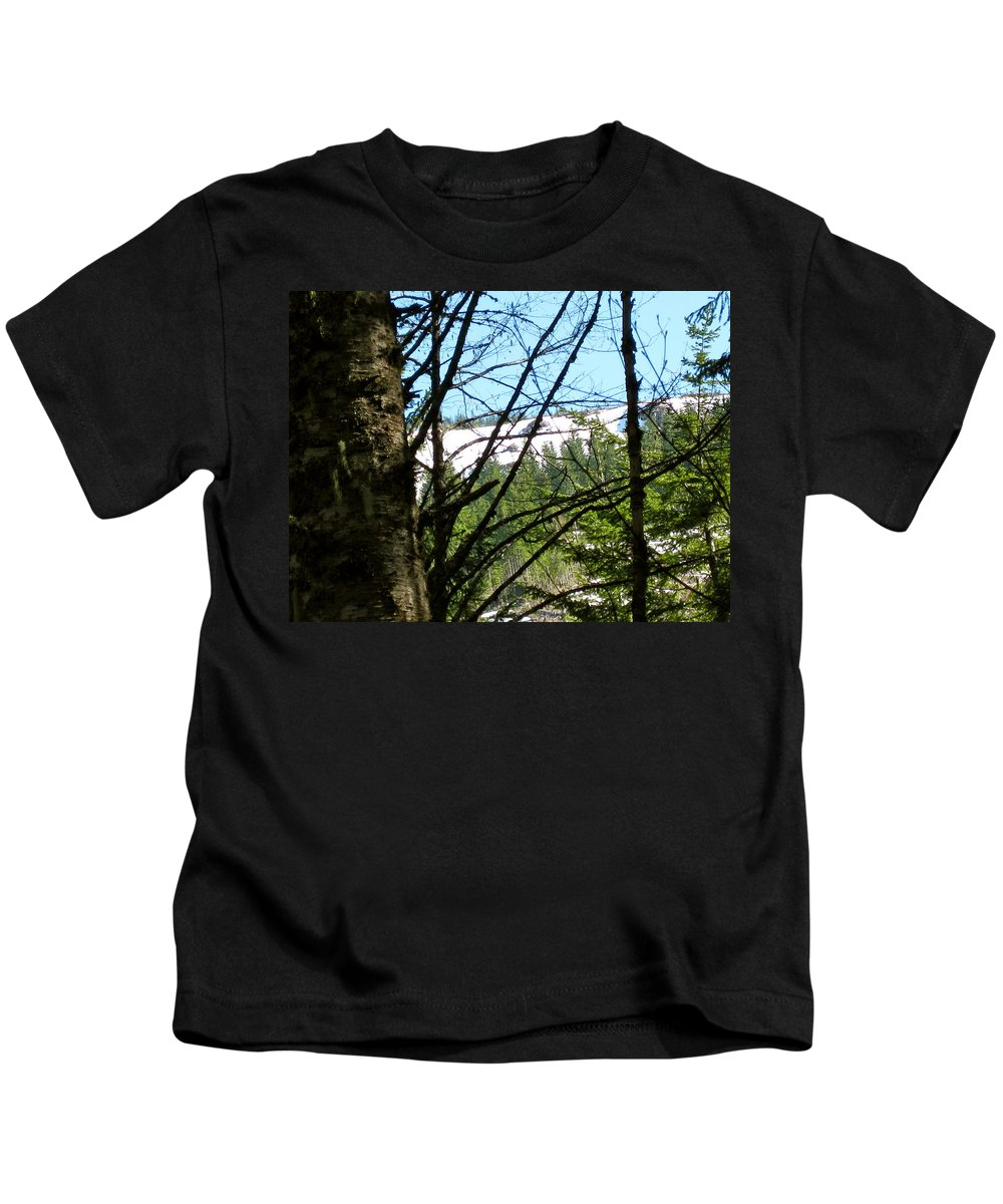 Mountains Kids T-Shirt featuring the photograph Snow In April by Linda Hutchins