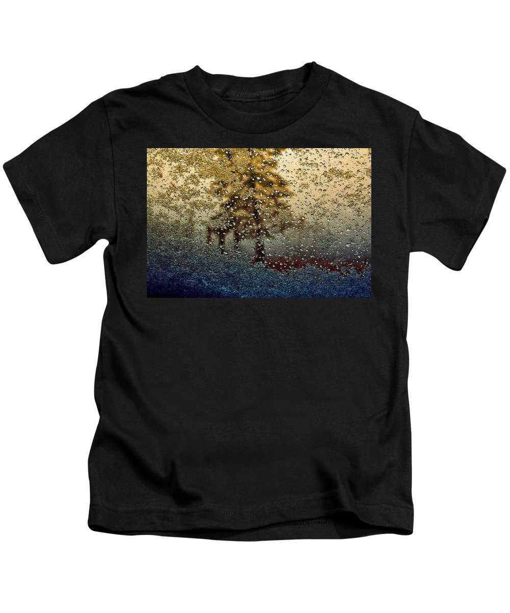 Abstract Kids T-Shirt featuring the photograph Snow On My Window by Ellen Heaverlo