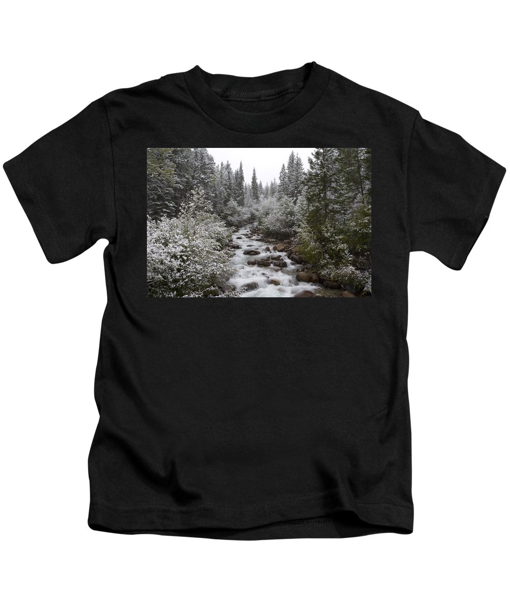 Attraction Kids T-Shirt featuring the photograph Snowy Foliage Along Stream In Autumn by Peter Van Rhijn
