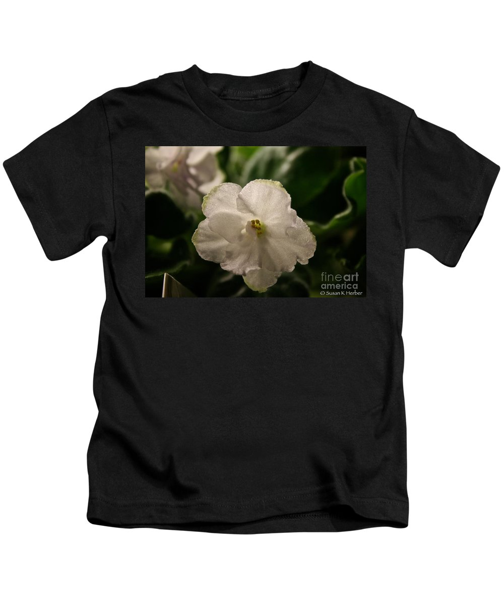 Plant Kids T-Shirt featuring the photograph Snowy White Violet by Susan Herber