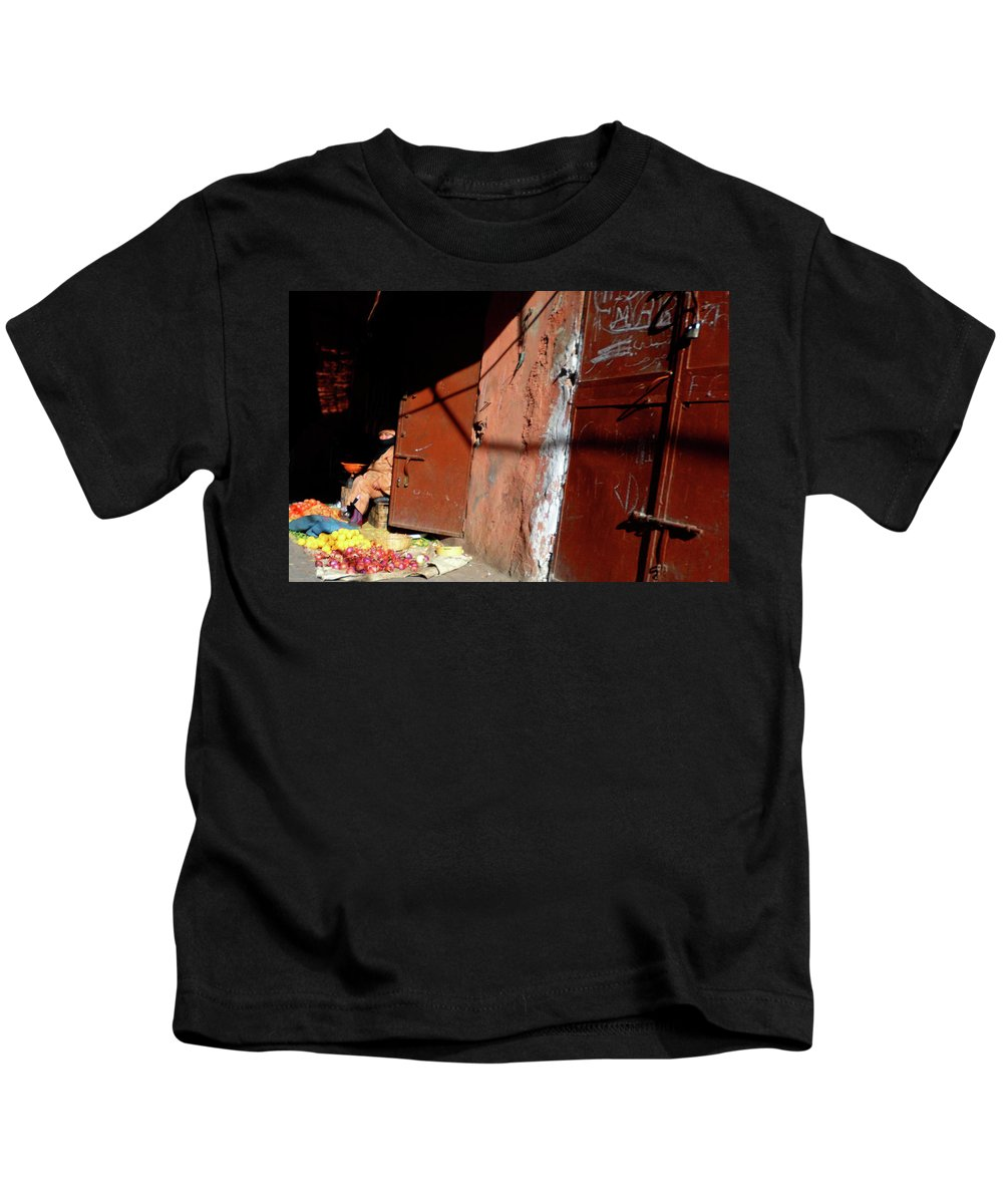 Travel Kids T-Shirt featuring the photograph Souk In Marrakesh 06 by Miki De Goodaboom