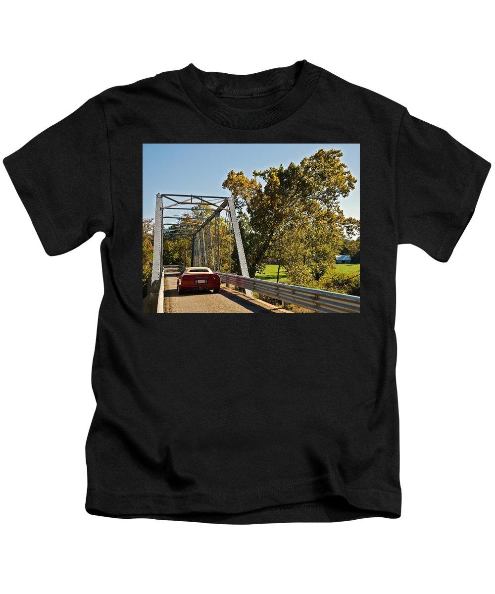 Bridge Kids T-Shirt featuring the photograph Sports Car On A Bridge by Susan Leggett