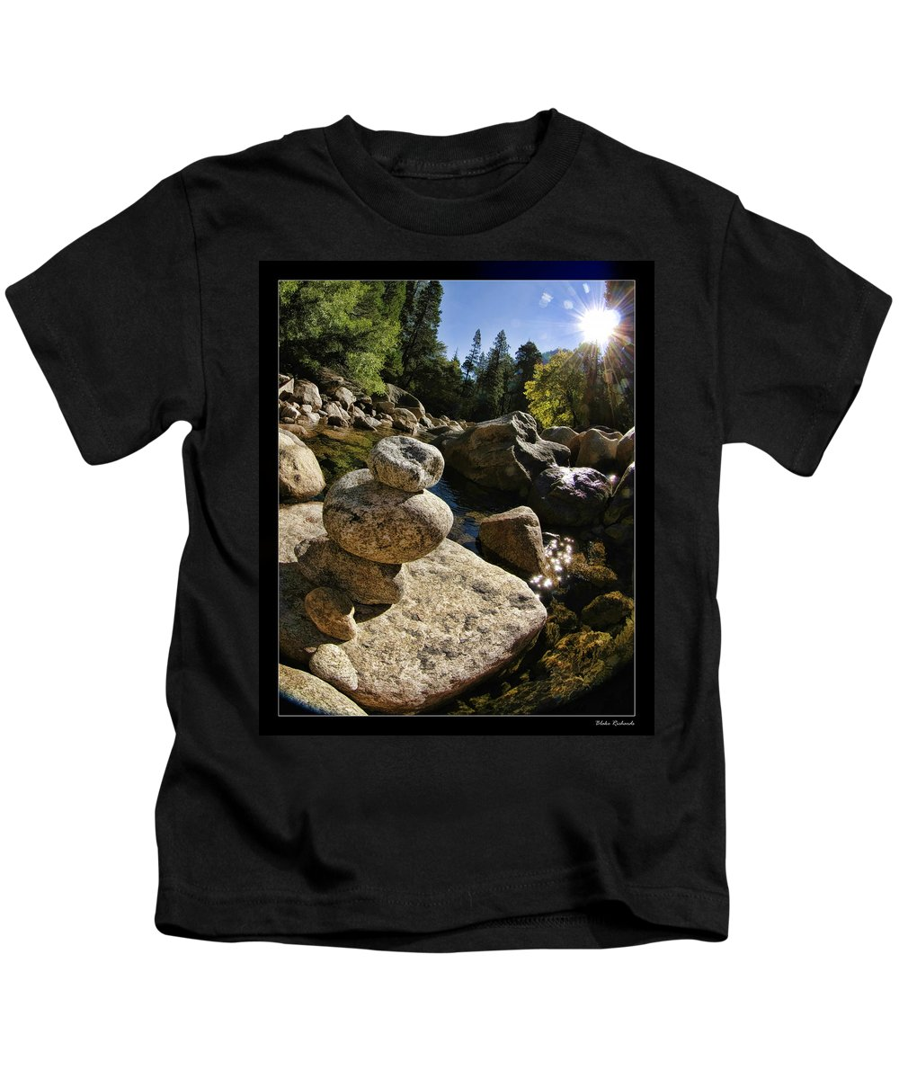 Art Photography Kids T-Shirt featuring the photograph Stacked Rocks by Blake Richards