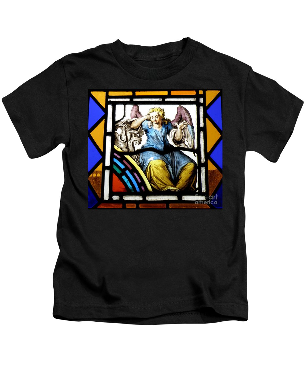 Angle Kids T-Shirt featuring the photograph Stained Glass Angel by Lainie Wrightson