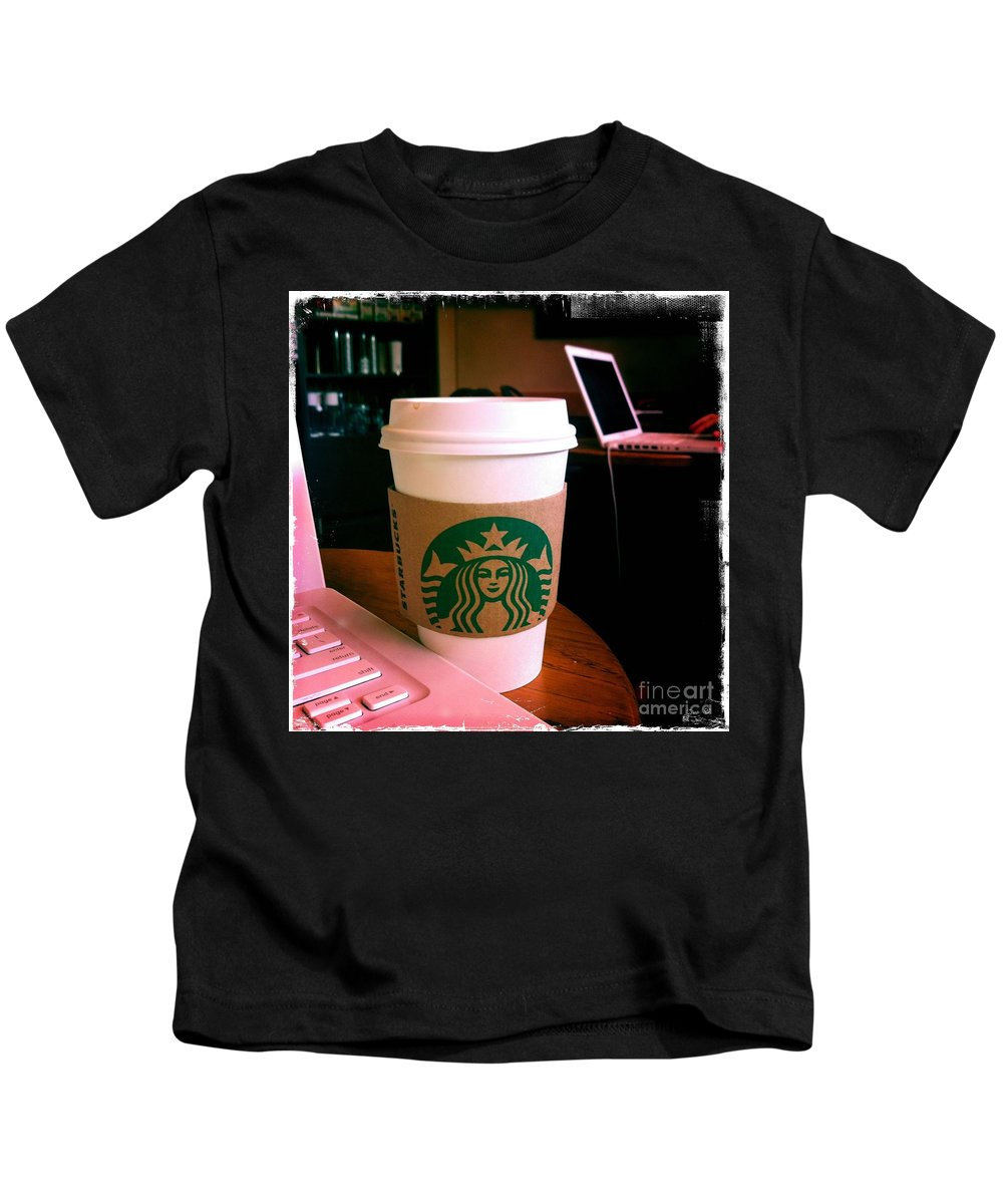 Starbucks Kids T-Shirt featuring the photograph Starbucks And Computers by Nina Prommer