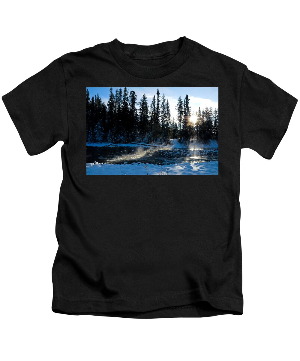 Alp Kids T-Shirt featuring the photograph Steaming River In Winter by U Schade