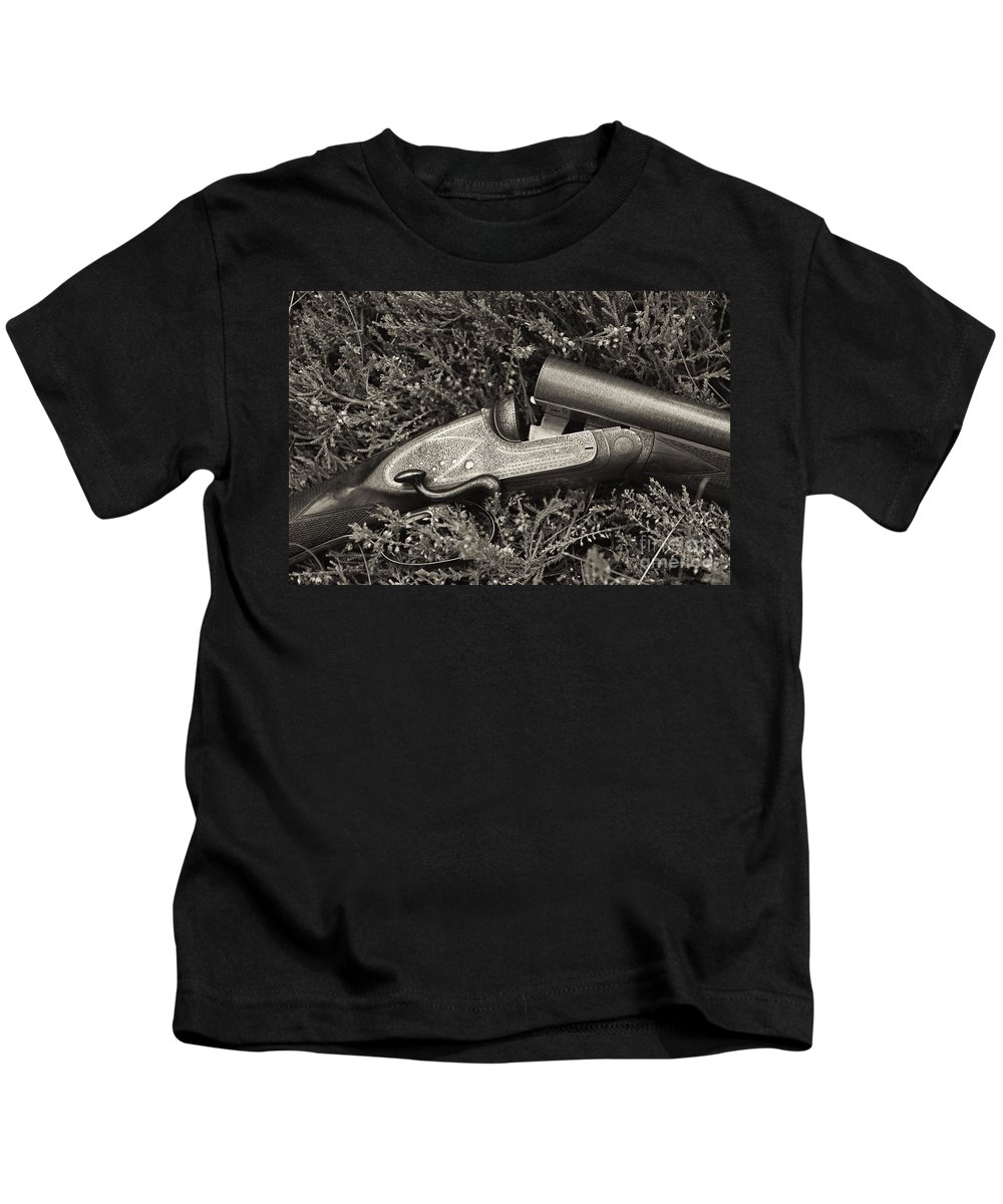Black Kids T-Shirt featuring the photograph Stephen Grant And Sons Side Lever Twelve Bore - D003359-bw by Daniel Dempster