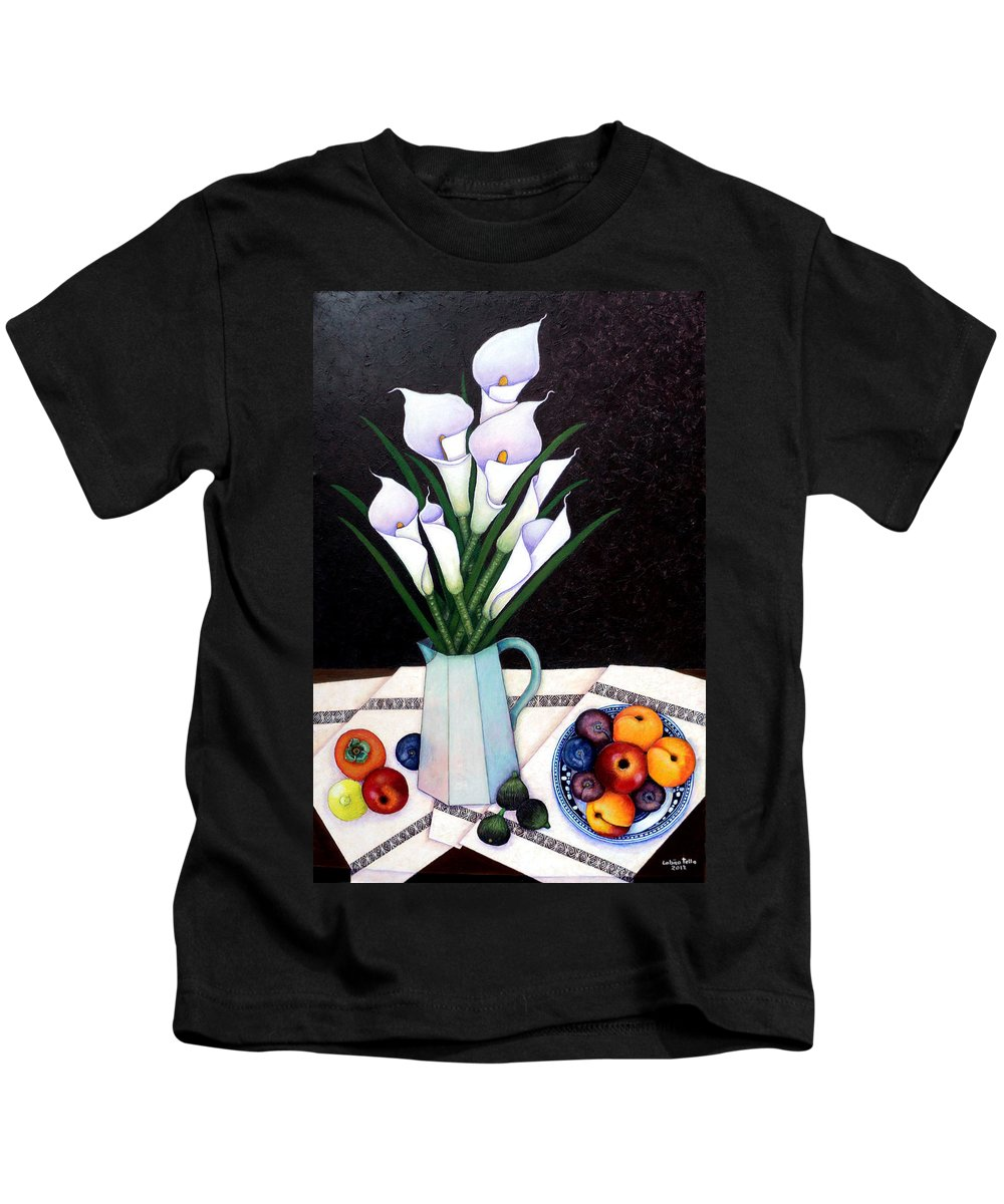 Lilium Calas Kids T-Shirt featuring the painting Still Life With Callas by Madalena Lobao-Tello