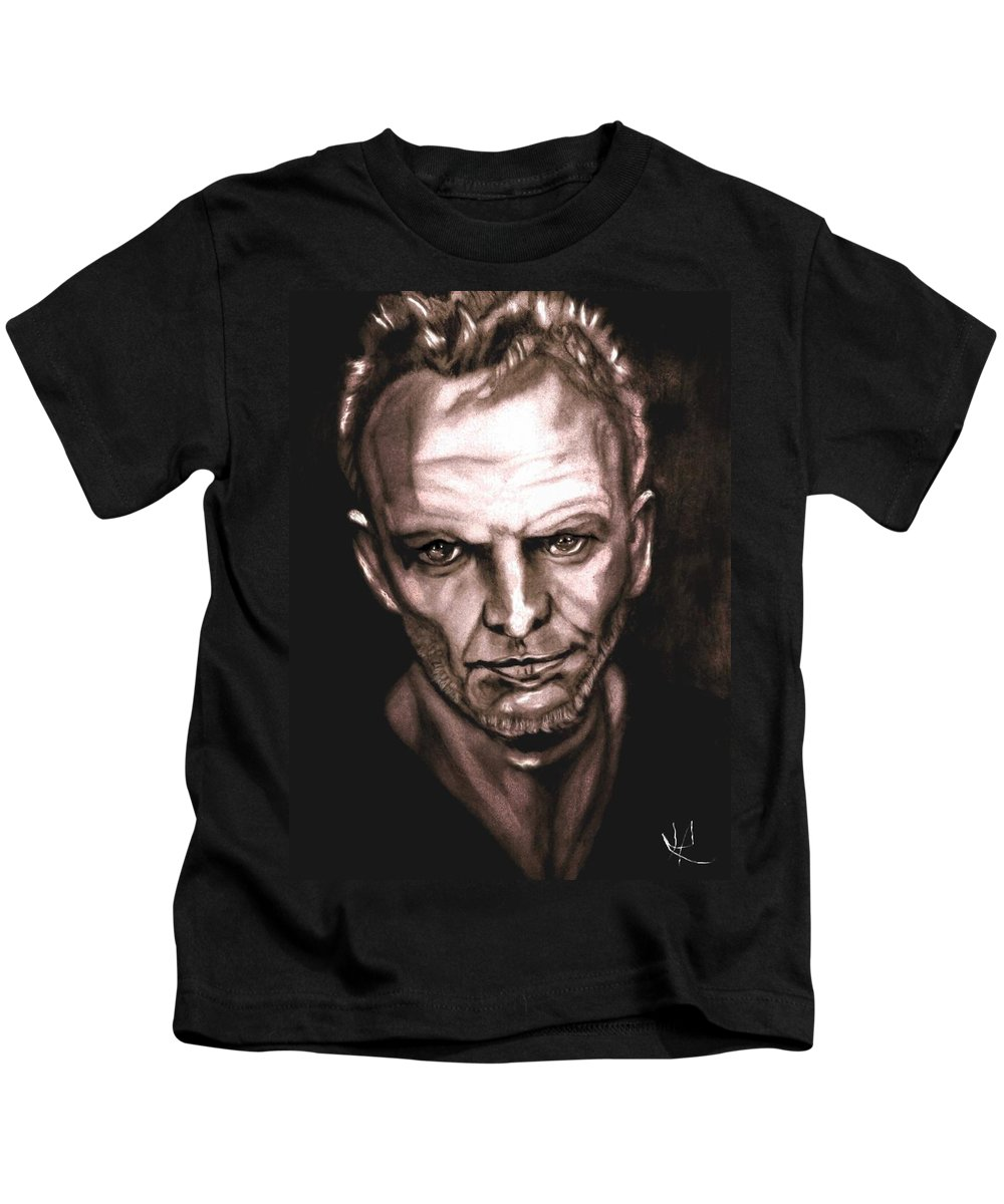 Sting Kids T-Shirt featuring the drawing Sting by Herbert Renard