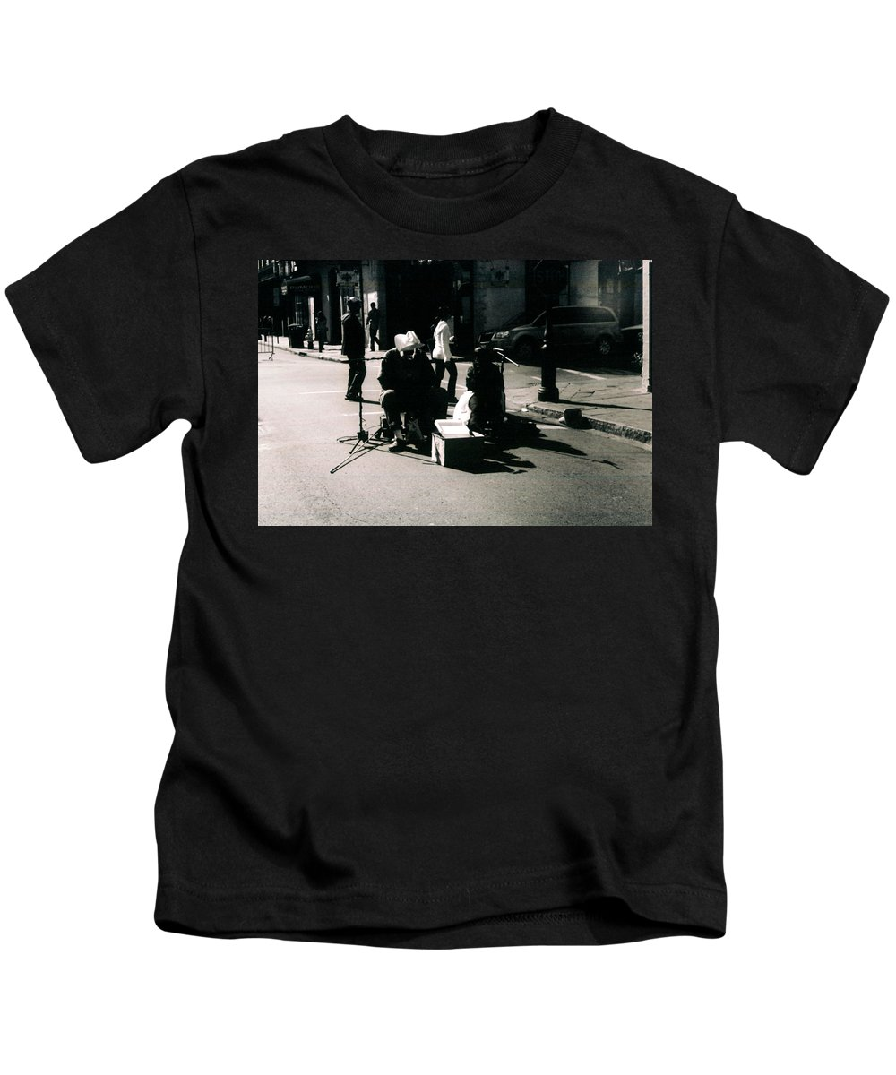 Bourbon Street Kids T-Shirt featuring the photograph Street Musicians- Grandpa Elliot by Doug Duffey