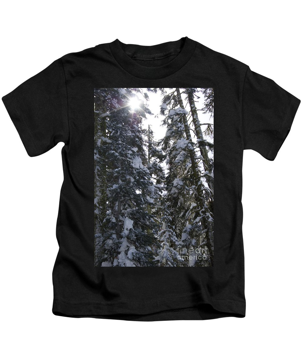 Yosemite Kids T-Shirt featuring the photograph Sun Rays On Snowy Trees by Jim And Emily Bush