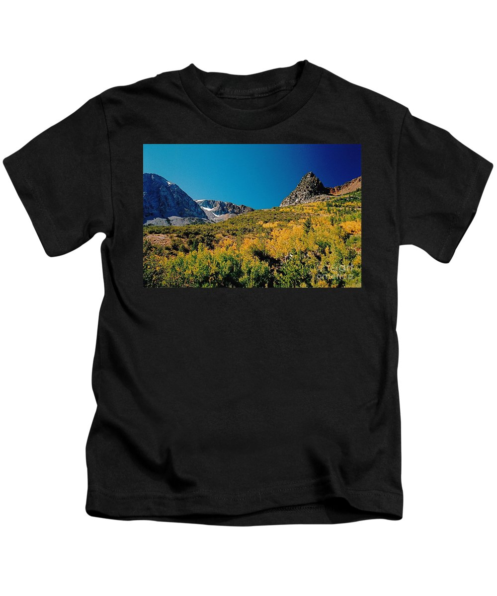 Mountaintop Kids T-Shirt featuring the photograph Sunny At The Top by Byron Varvarigos
