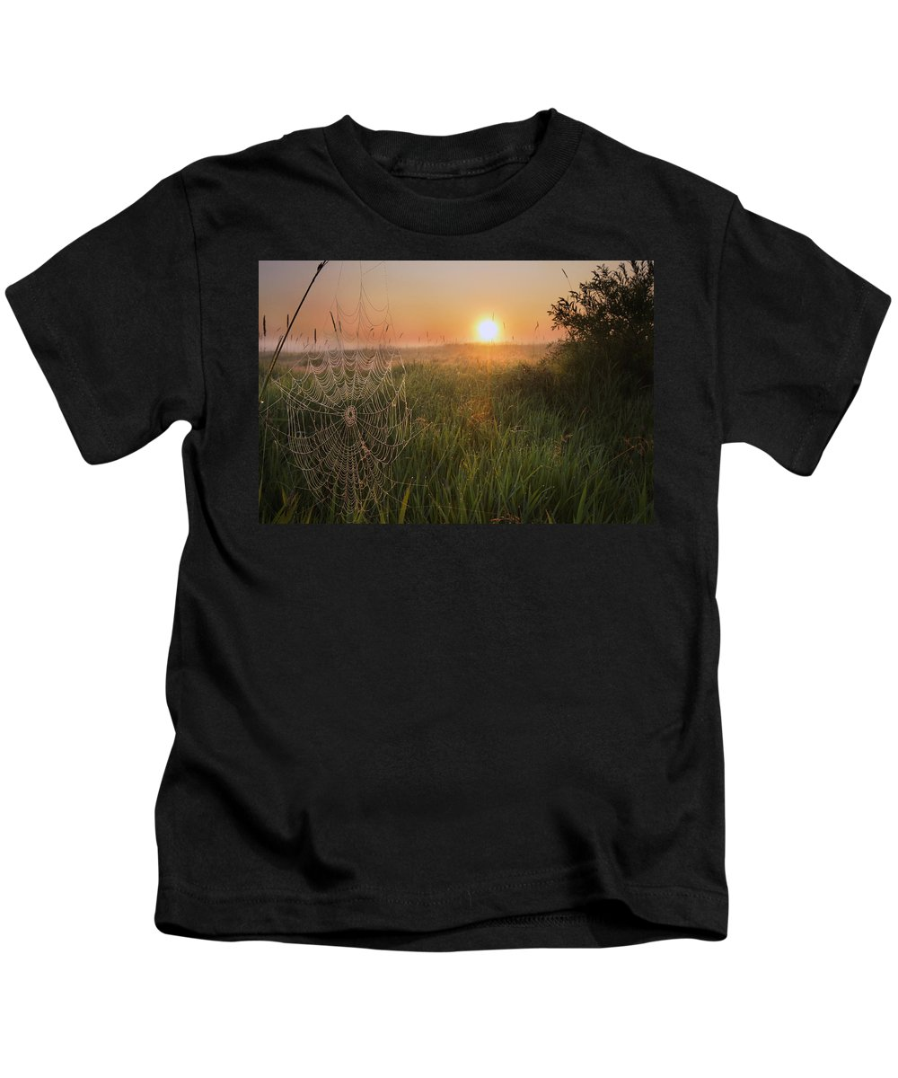Breakable Kids T-Shirt featuring the photograph Sunrise On A Dew-covered Cattle Pasture by Dan Jurak