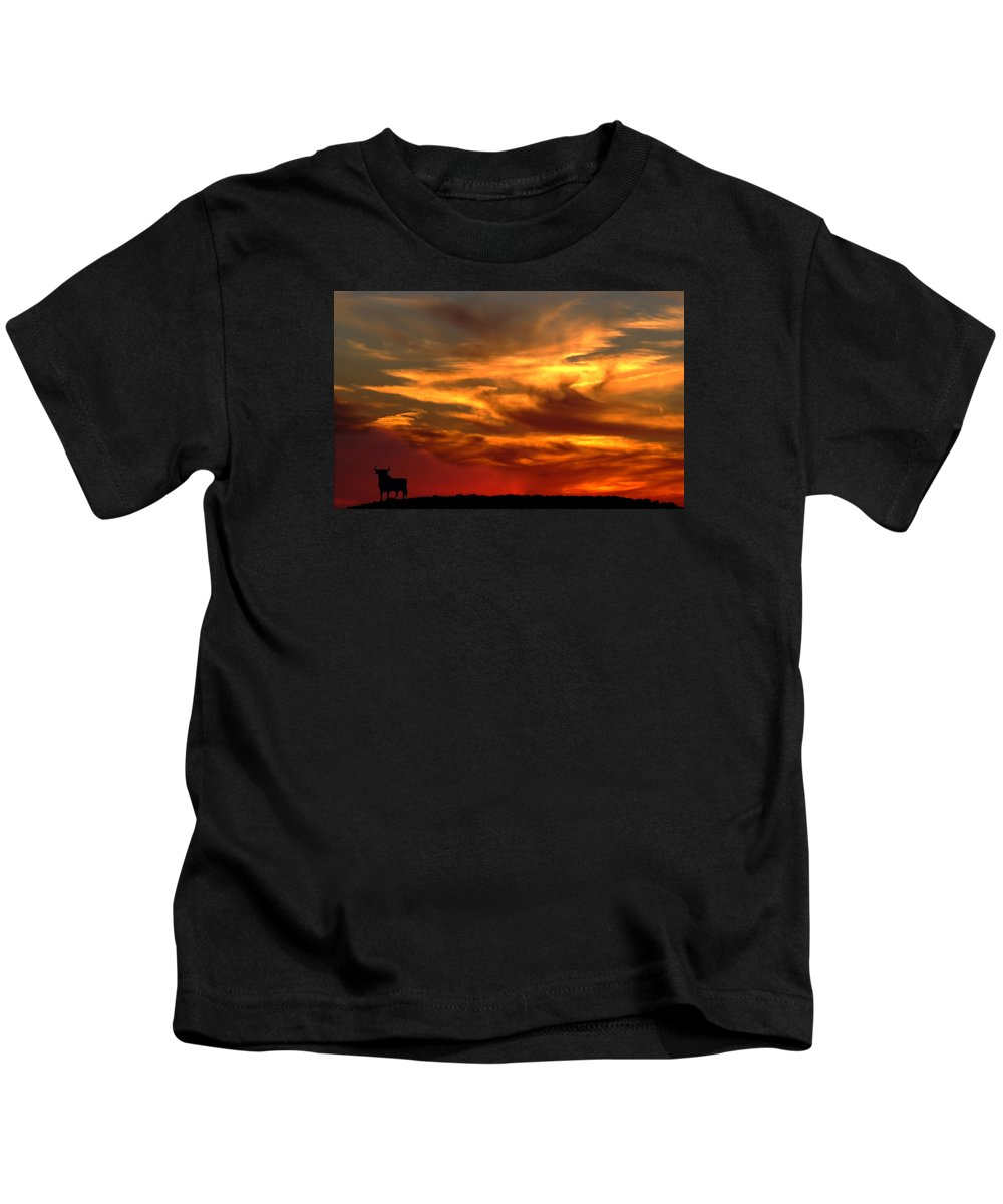Bull At Sunset On Mountain Countryside Kids T-Shirt featuring the photograph Sunset Bull by Cliff Norton