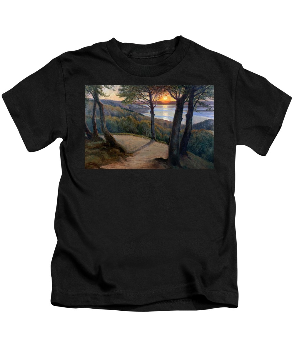 Sunset Kids T-Shirt featuring the painting Sunset by Hans Agersnap
