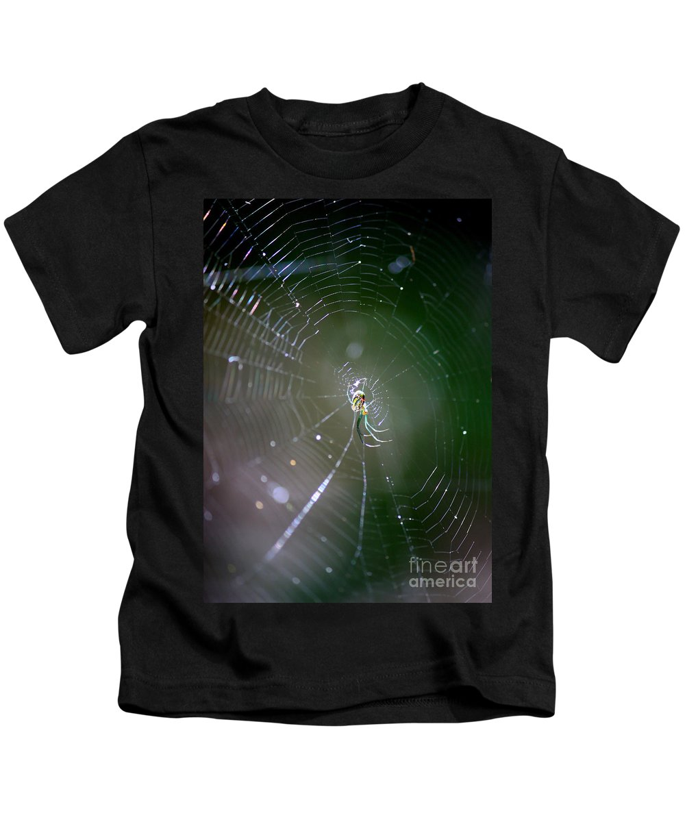 Swamp Spider Kids T-Shirt featuring the photograph Sunshine On Swamp Spider by Carol Groenen