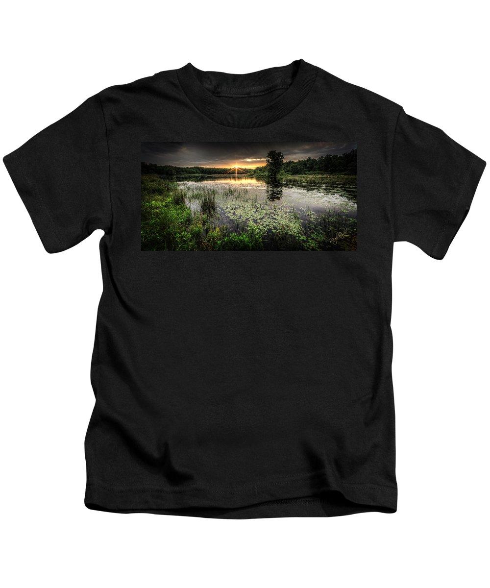 Sunrise Kids T-Shirt featuring the photograph Swamp Sunrise by Everet Regal
