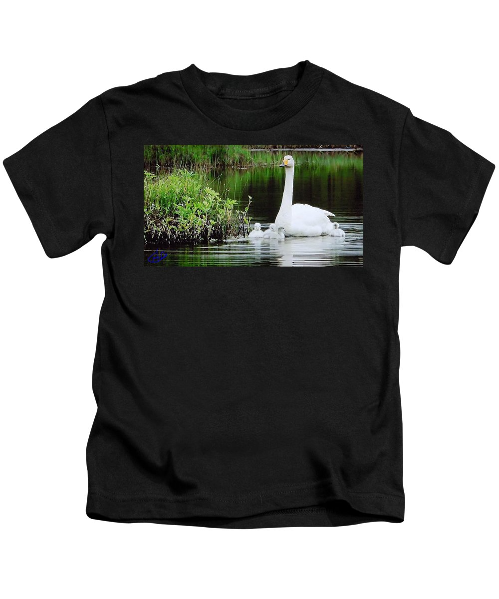 Colette Kids T-Shirt featuring the photograph Swan Family Late Summer by Colette V Hera Guggenheim