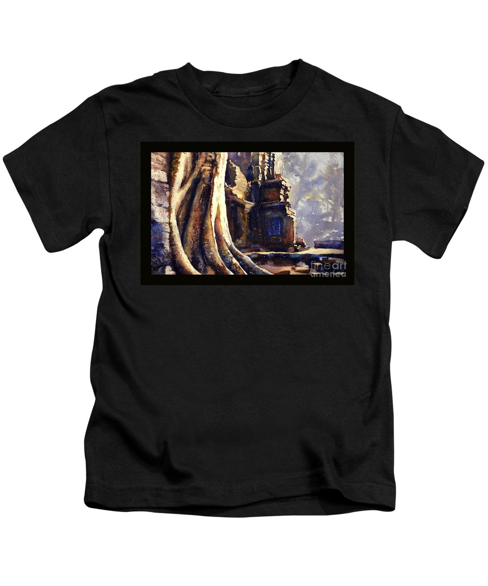 Angkor Wat Siem Reap Kids T-Shirt featuring the painting Ta Prohm Khmer Temple In Cambodia by Ryan Fox