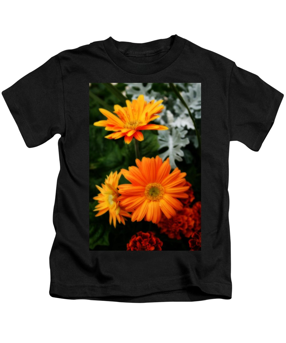 Nature Kids T-Shirt featuring the photograph Tangerine Colored Gerbera Daisies by Kay Novy