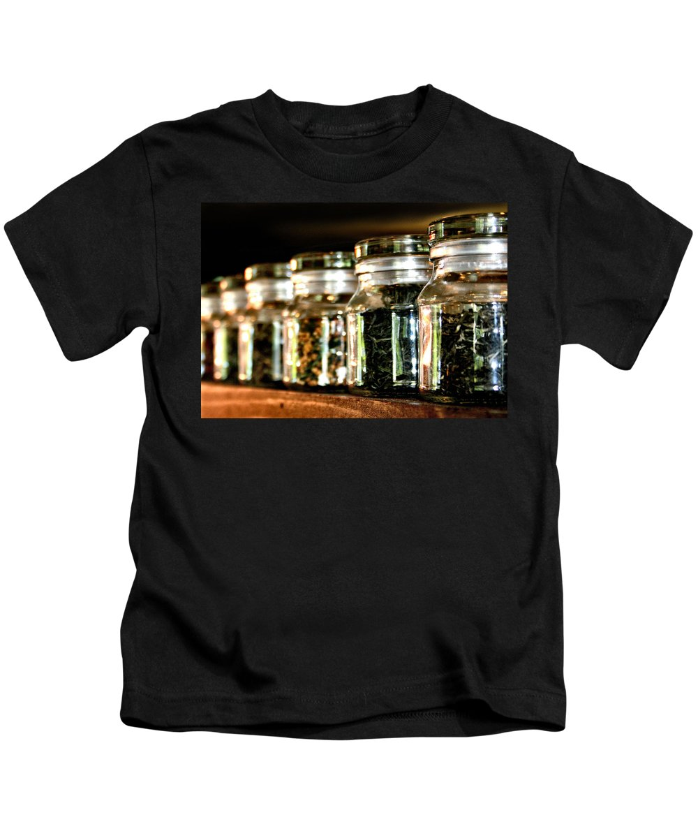 Tea Kids T-Shirt featuring the photograph Tea Soldiers by Sally Bauer