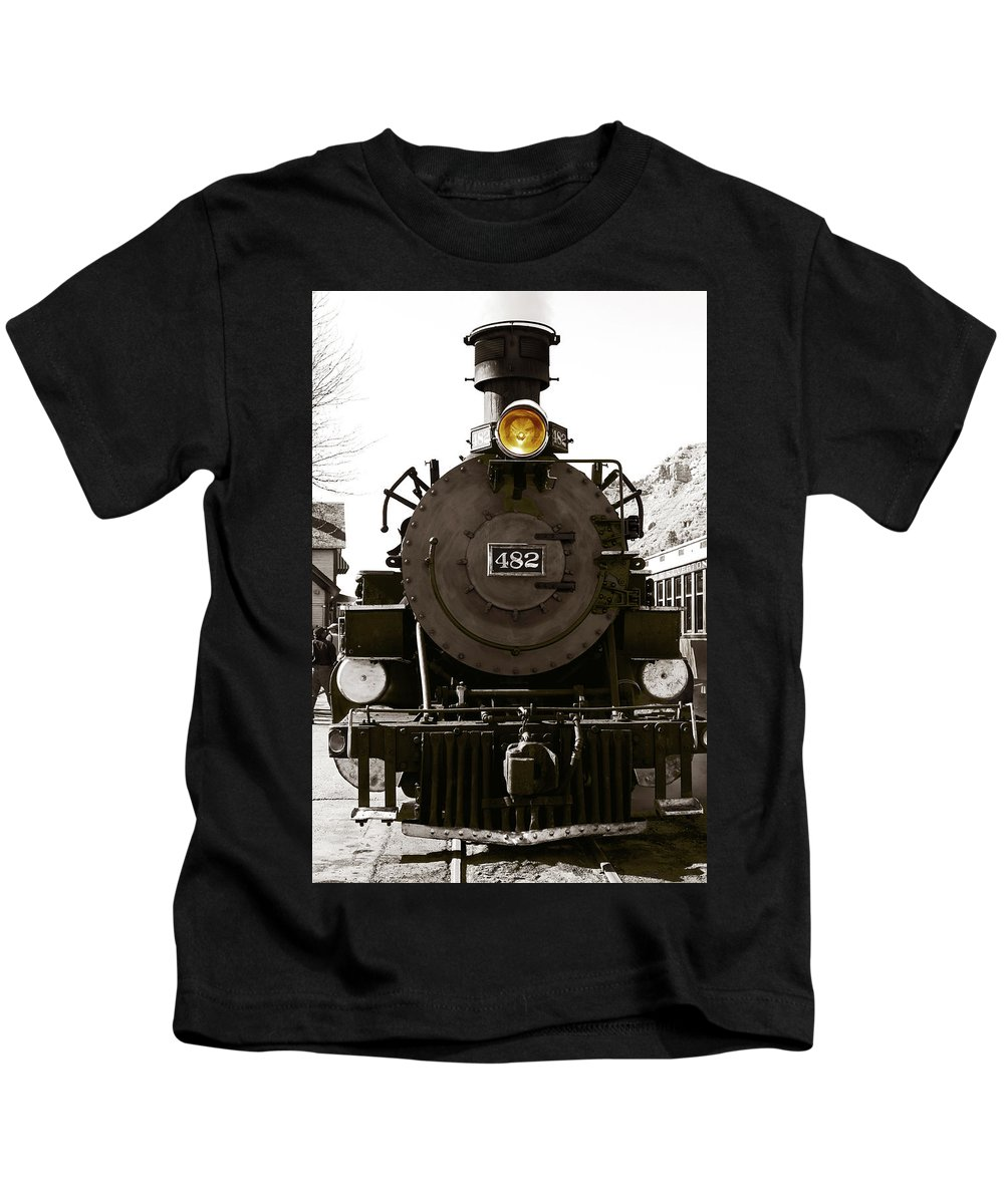 Steam Train Kids T-Shirt featuring the photograph The 482 Durango To Silverton by Lorraine Devon Wilke
