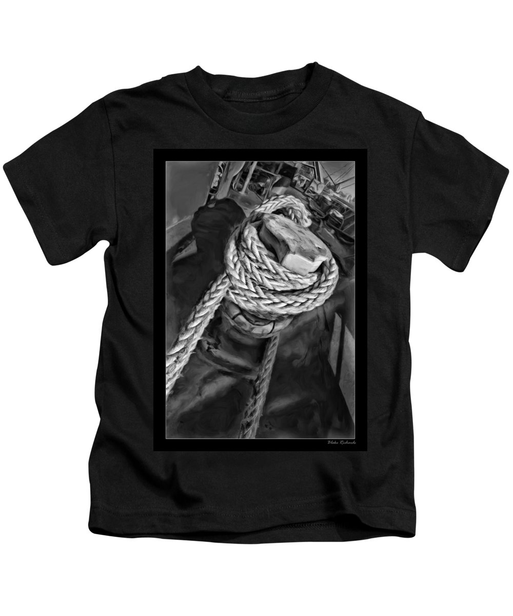 Ship Kids T-Shirt featuring the photograph The Captain Knot by Blake Richards