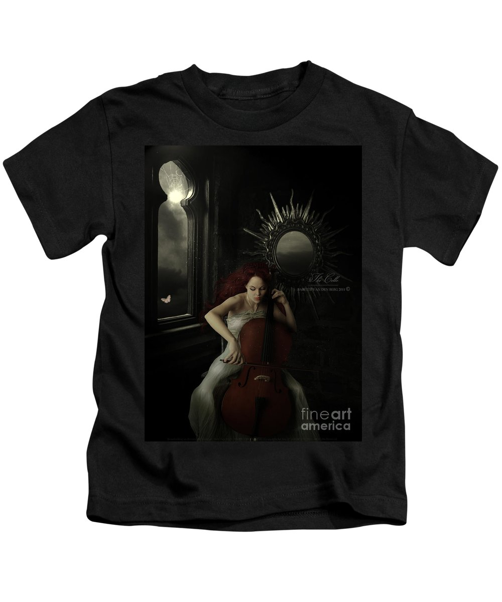 Woman Kids T-Shirt featuring the digital art The Cello by Babette Van den Berg