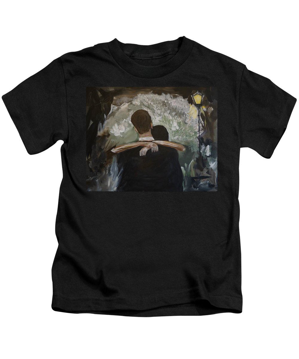 Couple Painting Kids T-Shirt featuring the painting The Dance by Leslie Allen