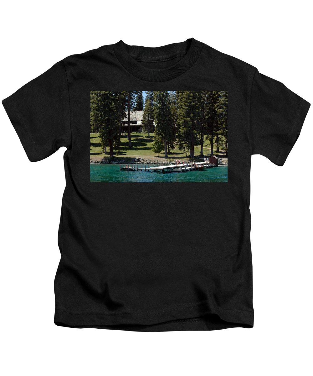 Usa Kids T-Shirt featuring the photograph The Dock At Sugar Pine Point State Park by LeeAnn McLaneGoetz McLaneGoetzStudioLLCcom