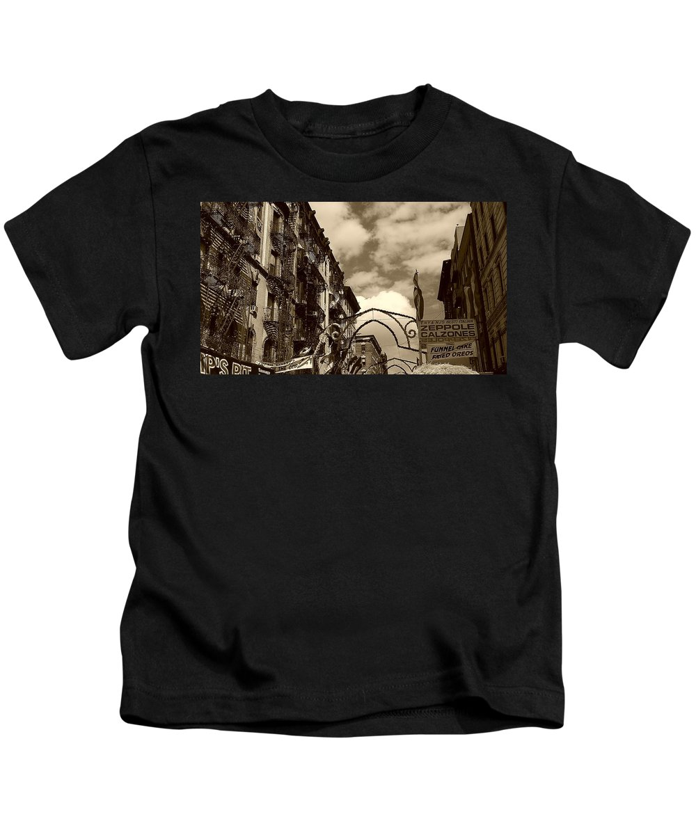 San Gennaro Kids T-Shirt featuring the photograph The Feast by Catie Canetti
