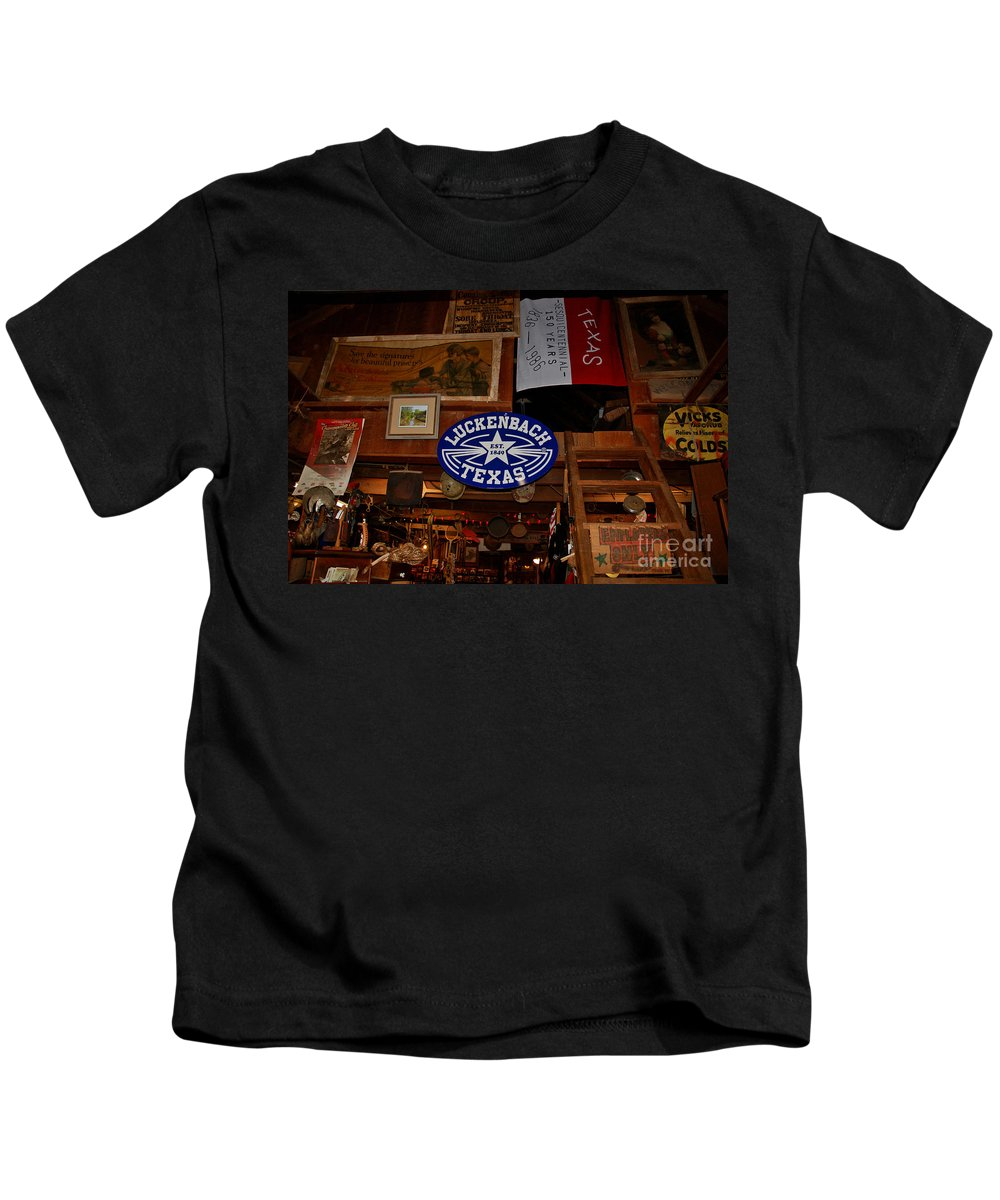 Luckenbach Kids T-Shirt featuring the photograph The General Store In Luckenbach Tx by Susanne Van Hulst